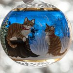 Christmas ball cats blue